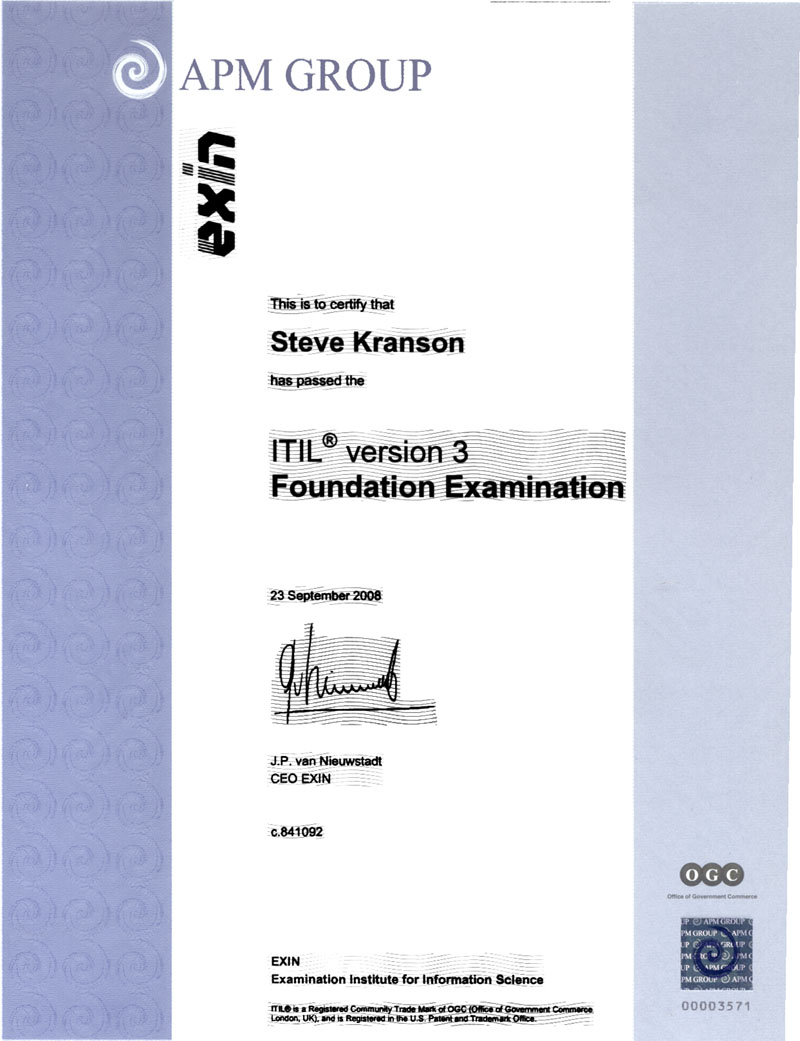 Steves Itil Certification
